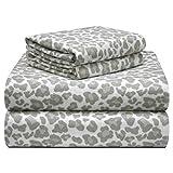Pointehaven 180 GSM Velvet Feel Luxury Cotton Printed Flannel Sheet Set, King, Leopard