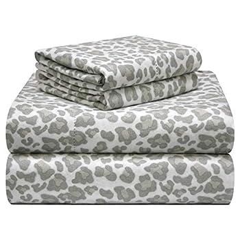 Pointehaven 180 GSM Velvet Feel Luxury Cotton Printed Flannel Sheet Set Cal King Leopard