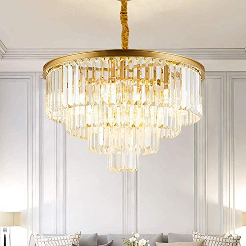Luxurious Crystal Chandeliers Modern Contemporary Chandelier 4-Tier European Ceiling Pendant Lights for Dining Room Living Room Hotel, 9 E12 Bulbs Required (Gold, Dia23.6'' 4-Tier)