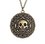 Collar Con Colgante De Calavera Con Moneda De Piratas Del Caribe De Estilo Vintage, Collar De Doblón Pirata Maldito Para Hombres Y Mujeres