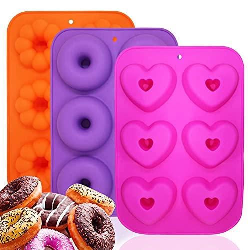 Silicone Donut Teglia, KNMY 3 pezzi Silicone Donut Stampo, 6 Cavità in Ciascuno Stampo, Stampi Ciambelle Antiaderenti Resistenti al Calore per Torte, Biscotti, Muffin