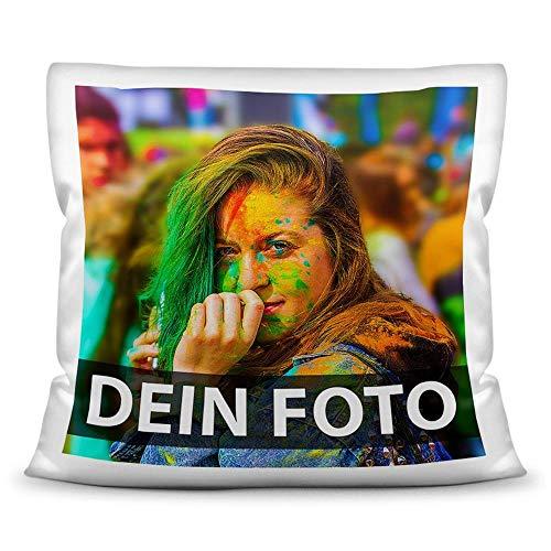 Foto-Kissen Selbst gestalten (40 x 40 cm) - weiß - mit Foto individuell Bedruckt/Inkl. Kissenfüllung / 100% Polyester/Personalisierte Geschenk-Idee/Kopfkissen mit eigenem Foto