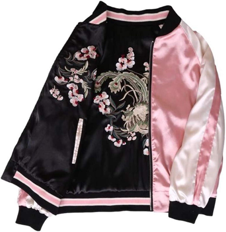 QZHE Bomberjacke Floral Gestickte Bomberjacke Frauen Einfache Langarm Jacke Lssig Grundlegende Jacke