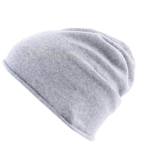 REALLY NICE CASHMERE Eco Kaschmir Mütze - Curl Solid Beanie Unisex - Winter Strickmütze 100% Wolle Hellgrau