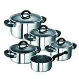 Schulte-Ufer Master-Set Black Betty i, Cooking Pot Set, Stainless Steell 18/10, 5PCs, Set 456