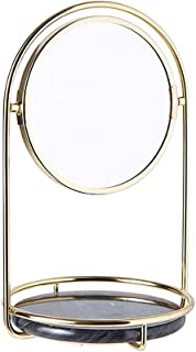 Vanity Mirror Desktop Makeup Mirror 180 Degree Free Rotation Bracket Marble Can Accommodate The Base Iron Marble HD for The Family