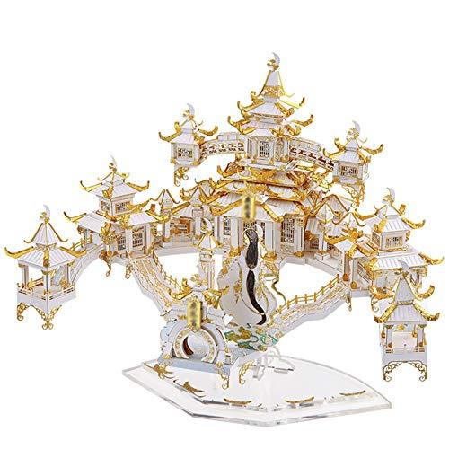 ZLWJ Puzzle 3D Modelo de Arquitectura Kits Nano Metal Rompecabezas en Tres Dimensiones Escultura Regalo para los Adultos Amigos Edificio Rompecabezas Guanghan Palace White-17 * 21 * 18CM