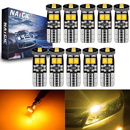 NATGIC T10 W5W 921 194 168 Ampoules LED CanBus sans Erreur 6SMD 3030 Puce pour éclairage Intérieur de Voiture Ampoules de Feux de Position Avant de Porte de Dôme - Ambre 3500K 450LM 12V (Pack de 10)