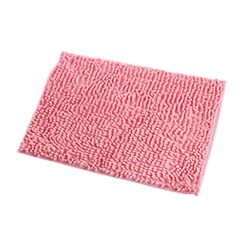 Tapis de sol ou tapis d'entrée ébouriffé - Chenille - Absorbe l'eau - Pour la salle de bains - Personnalisable, rose, 60*90cm