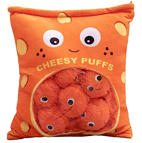 WESYY Cheese Puff Pillow, Cheesy Puffs Plushies,Sofa Chair Decorative Pillow for Kids Boys Girls Birthday (Small 6 Balls)