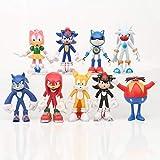 Figura de Sonic 9 unids/set nuevo 10-12CM Sonic the Hedgehog figuras de juguete Sonic Shadow Tails personajes PVC figura juguetes para niños juguetes