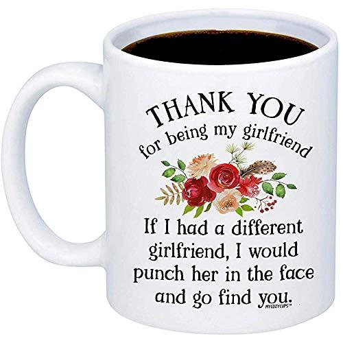 Regalos para novia Gracias por ser mi taza de café GF Taza linda de 11 oz para su aniversario de mujeres Taza de cumpleaños de San Valentín