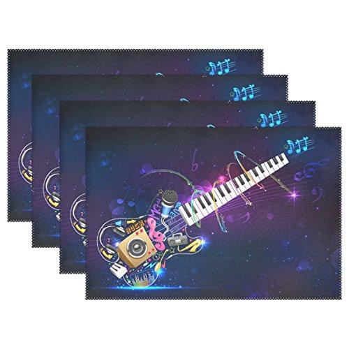 TIZORAX Muziek Gitaar Placemats Plate Houder 12