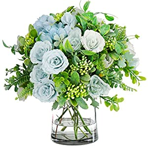 Mini Artificial Peonies Flowers Silk Hydrangea with Fern Leaves 4 Bouquets Fake Plants for Table Centerpiece Flower Arrangements Party Wedding Decor (Blue)