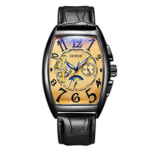 Sewor uomo Tourbillon Moon Phase meccanico automatico orologio da polso con fascia in vetro rivestimento blu (Gold Schwarz)