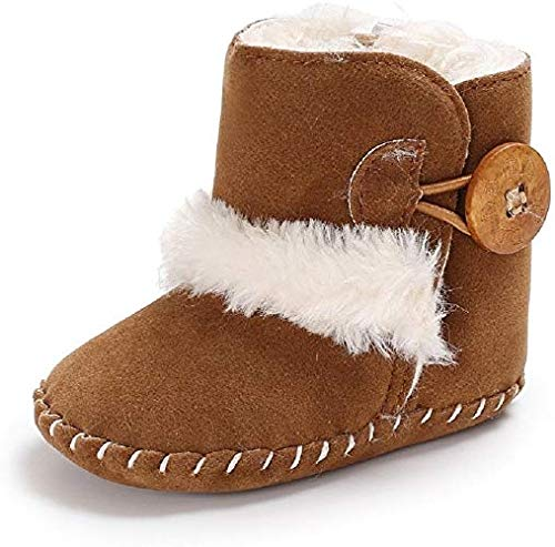 Meeshine Winter Warm Baby Boots Premium Soft Sole Prewalker Newborn Infant Boy Girl Crib Shoes Snow Boots(Medium / 6-12 Months,Brown)