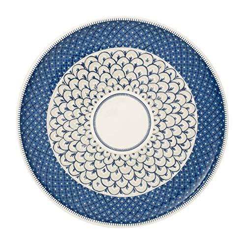 Villeroy & Boch - Casale Blu assiette à pizza, plat rond en porcelaine avec motifs graphiques de style majolique italien traditionnel, 32 cm