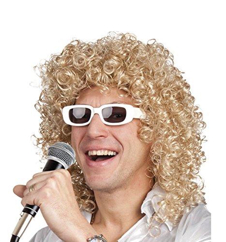Parrucca Cugino di Campagna riccia con occhiali, biondo