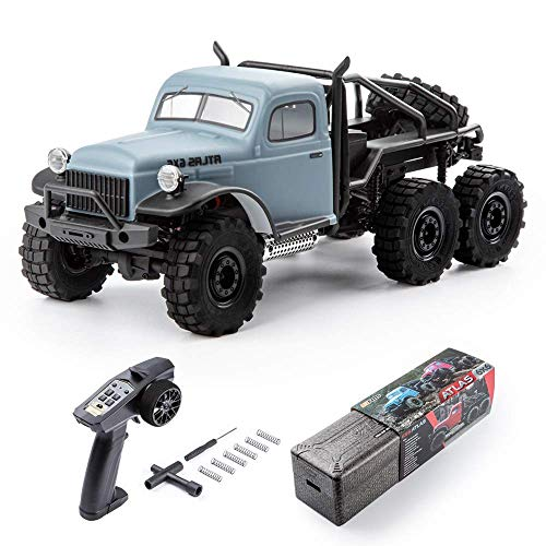 Fms 1:18 Atlas 6X6 Crawler RTR Waterproof Remote Control Car with LED Lights, All Terrain Hobby Off-Road RC Truck Electric Toys for Kids and Adults (Blue)