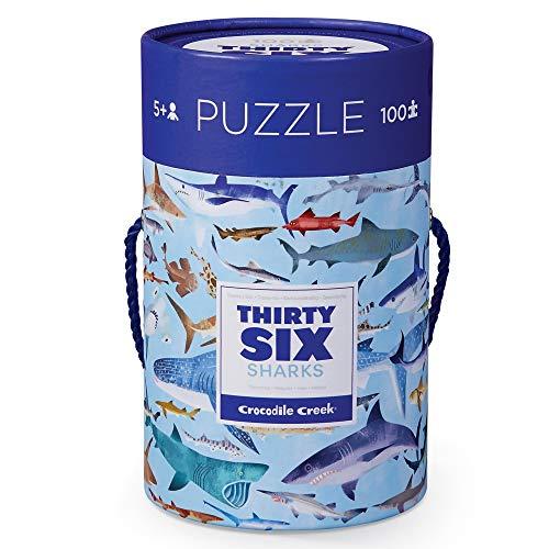 Bertoy 384054-8 Puzle de Piezas de tiburón en Bote Jigsaw Floor, Azul/Verde/Naranja/Rojo/Rosa, 14 x 19 Pulgadas (Juguete)