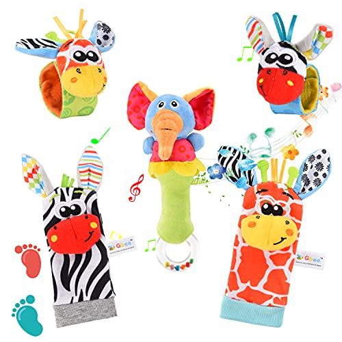 FORMIZON Sonajeros Muñecas, 5 Piezas Juguetes Sonajero Bebés, Calcetines Sonajero Pulseras, Bebe Pies Manos Juguetes Desarroll, Peluches Buscador Muñeca