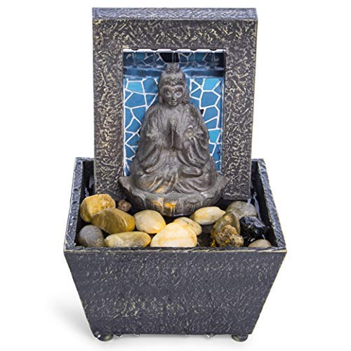 Nature's Mark 7' Mosaic Buddha Tranquility Tabletop Water Fountain with Natural River Rocks and LED Lights (Battery Operated)