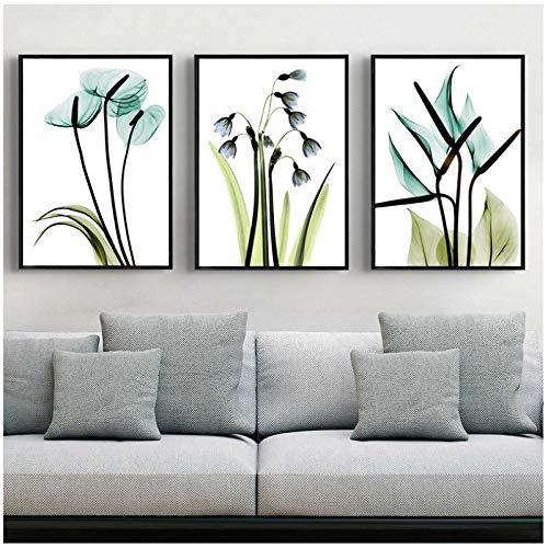 3 Stuks Lente Groene Plant Paarse Lavendel Bladeren Bloem Canvas Schilderijen Muurschildering Poster Print Woonkamer Huisdecoratie -50x70cmx3 (geen Frame)