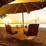 BSMEAN Les lumières de parapluie de patio actionnent lénergie solaire, 8 modes de lumière, 8 branches de parasol de 104 LEDs, guirlandes de jardin ficelles dextérieur imperméables