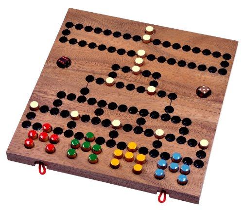 LOGOPLAY Blockade - Würfelspiel - Strategiespiel - Gesellschaftsspiel - Brettspiel aus Holz mit klappbarem Spielbrett