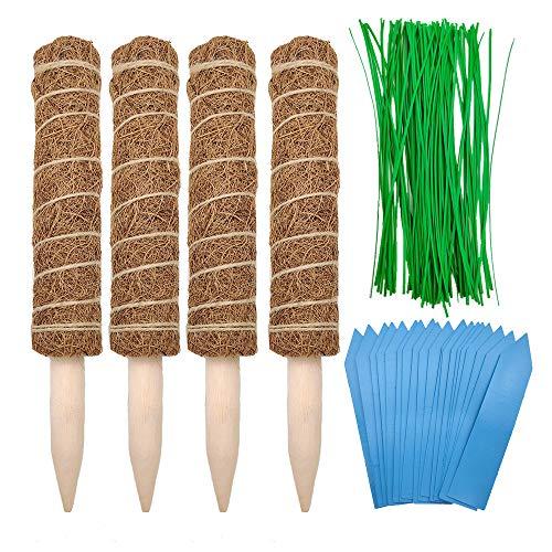 Aisamco 4 Stück Kokos Totempfahl Kokosmoos Totempfahl Kokos Moos Stick 40 cm lang mit 100 Stück Garden Twist Ties und 20 Stück Pflanzenetiketten für Creepers Plant Support Extension Kletterpflanzen