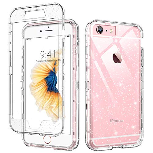 DUEDUE iPhone SE 2020 Case,iPhone 6 Case, iPhone 6S Case, 3 in 1 Glitter Shockproof Drop Protection Heavy Duty Hybrid Hard PC Transparent TPU Bumper Full Protective Case for iPhone 6 6S SE2, Clear
