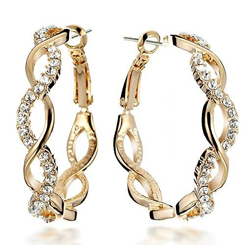 Gemini Ohrhänger (Gelb Gold 18K), attraktive Kristall Stein Elemente, geschwungene Form, sehr leicht, für gehobene Anläße, beliebt bei Girls & Damen, 0,6 cm Durchmesser