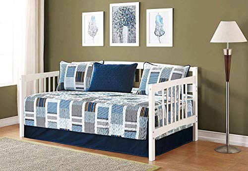 5pc Daybed Cover Set Quilted Bedspread Squares Striped Navy Blue Light Blue Grey New