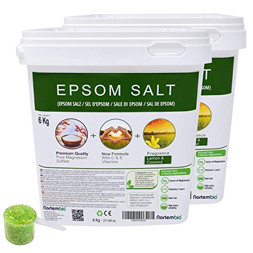NortemBio Epsom Badzout 2x6 Kg. Originele Citroen en Kokosgeur. Gehydrateerd met Vitamine C en E. Badzout en Persoonlijke Verzorging. Beschikbaar E-Book.