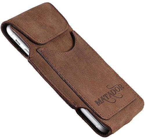 MATADOR Gürteltasche kompatibel mit iPhone 6 / 6s / SE (2020) Ledertasche Echt Leder Hülle Hülle Magnet Gürtel-Clip/Schlaufe Antik Braun Horizontal