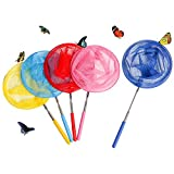 Skrtuan Kids Telescopic Butterfly Nets, 5 Pack Colorful Insect Net Perfect Outdoor Tools for Catching Bugs Fish Insect Ladybird, Extendable 34 Inches and Anti Slip Grip