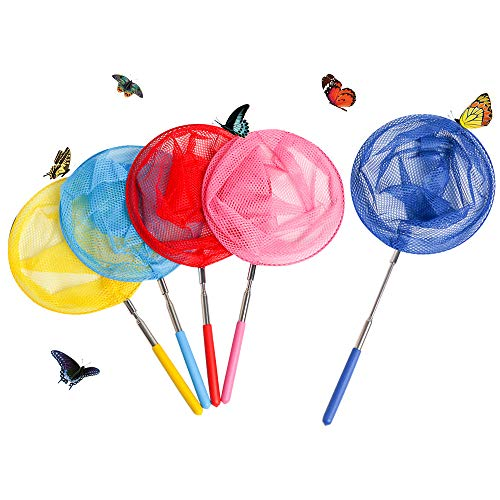 Skrtuan Kids Telescopic Butterfly Fishing Nets Great for Catching Insect Net Perfect Outdoor Tools for Catching Bugs Fish Insect Ladybird, Extendable 34 Inches and Anti Slip Grip (5 Pack)