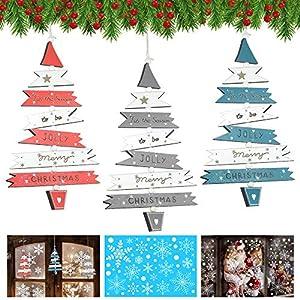 APERIL 4 Piezas Adornos Navideños, Colgantes Arbol Navidad Madera y Copos Nieve de Navidad Pegatinas para Cristales Ventanas Adornos de Navidad para Navidad, Fiestas, Bodas, jardín Decorar
