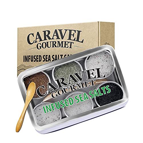 Infused Sea Salt Sampler Set, Zero Calories Salt with Low Sodium, Gourmet Cooking Gifts and Spice Variety Pack for Special Occasions, 0.5 oz x Bundle of 6 - Caravel Gourmet
