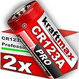 kraftmax 2er Pack CR123 / CR123A Lithium Hochleistungs- Batterie für professionelle Anwendungen - Neueste Generation