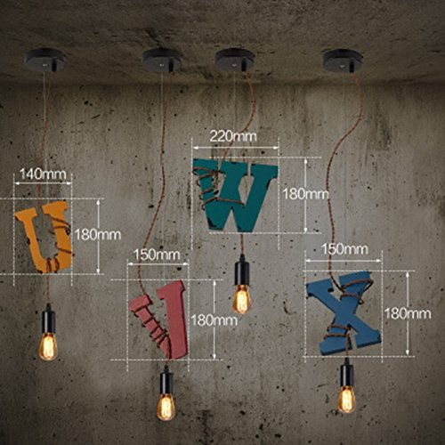 Kroonluchter van hout in retro-stijl, creatief restaurant, single kop, E27-fitting, kroonluchter, 25 cm dik (productnummer: 1) (afmetingen: H)