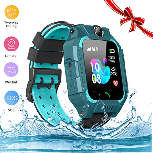 Mhliyfdvy Smart Watch for Kids GPS Tracker - IP67 Waterproof Smartwatches with SOS Voice Chat Camera Flashlight Alarm Clock Digital Wrist Watch Smartwatch Girls Boys Birthday Gifts