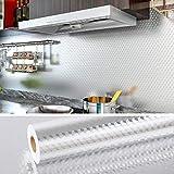 VEELIKE Papel de Pared Vinilo Aluminio Papel Pintado Cocina Papel Aluminio Autoadhesivo Papel Cocina Mosaico para Estufa Muebles Proyecto de Bricolaje 0.4m x 18m