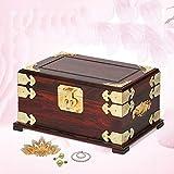 QULONG Caoba Vintage con Cerradura Caja de Almacenamiento China Cofre del Tesoro de Madera Maciza Laca Pintada Grande Día de la Madre, Madre