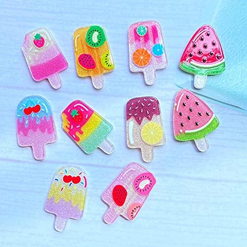 N\C 50Pcs Cute Blend Shiny Mini Ice Cream FlatBack Acrylic Kawai Scrapbook Dotted