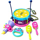 Debonla Kids Drum Set, 5 Pcs Baby Kids Roll Drum Musical Instruments Band Kits with Drum/Sticks/Saxophone/Whistle/Maracas Tambourine, Gift Early Educational Toy for Boys & Girls