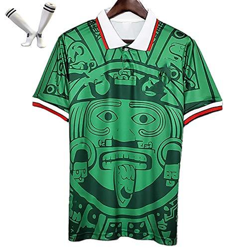 FYDT Uniforme de fútbol de México para Hombres, Camiseta Retro de 1998, Camiseta de fútbol clásico de Local y visitante, con Calcetines de fútbol, S-XL-Green-M
