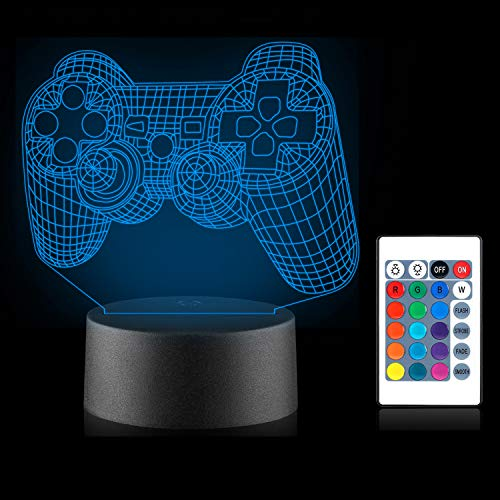 3D Game Control Lamp Illusion Night Light Xpassion 16 Colors Changing Xbox PS4 Gamepad Led Light with Remote, Kids Bedroom Decor as Xmas Holiday Birthday Gifts for Boys Girls