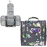 PAVILIA Hanging Travel Toiletry Bag Women Men | Bathroom Toiletry Organizer Kit for Cosmetics Makeup | Dopp Kit Hygiene Bag for Shaving Shower (Floral Grey)