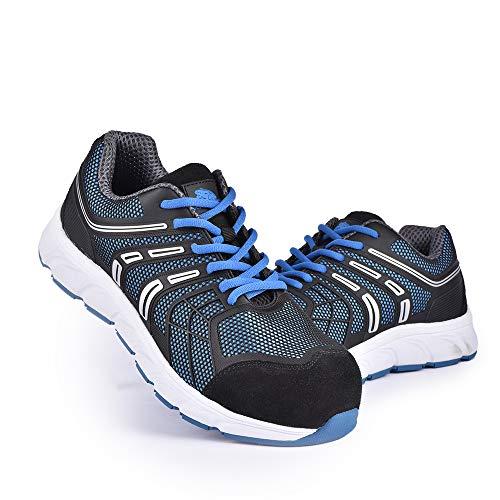 Zapatos de Trabajo para Hombres S1P, Zapatos de Seguridad Deportivos Ligeros con Tapa de Fibra de Vidrio, Zapatos de protección Antideslizantes, Transpirables, Anti-Rotos, Anti-perforantes